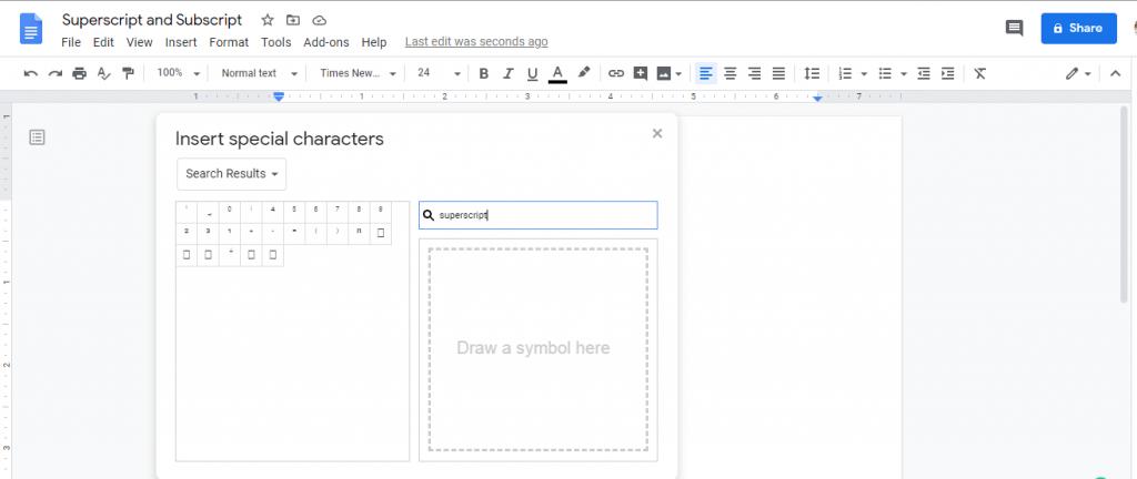 Add Superscript and Subscript In Google Docs