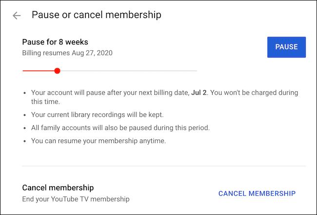 Cancel YouTube TV