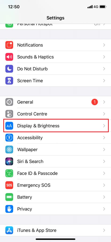 Display & Brightness option