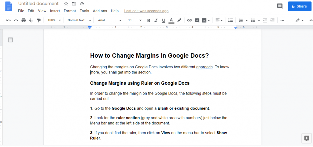 Change Margin on Google Docs
