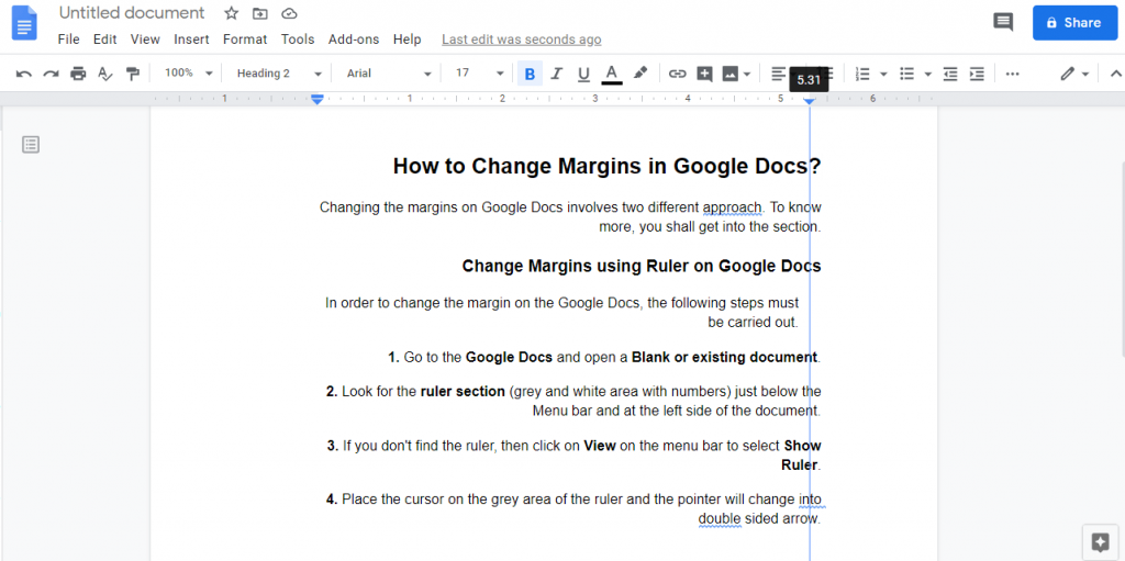 Change Margins in Google Docs on Right side