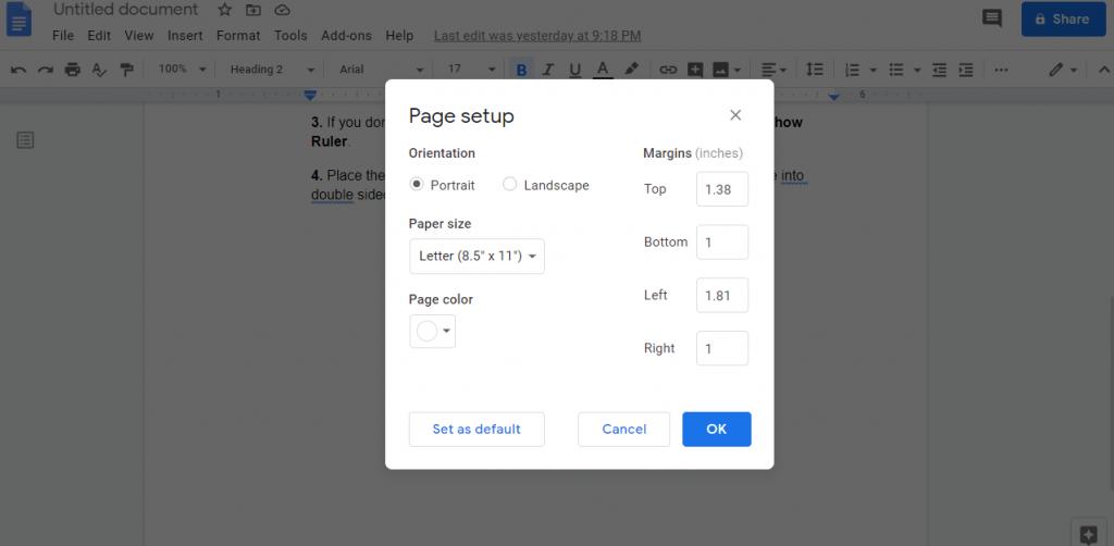 Change Margins in Google Docs using Page Setup
