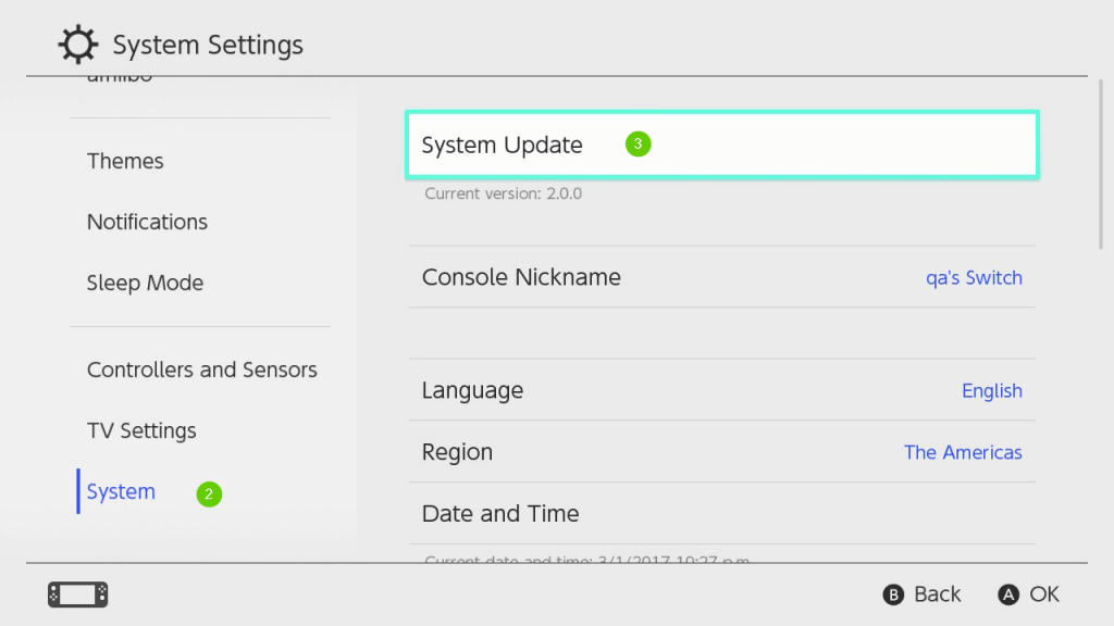 Choose System Update for Nintendo Switch Update