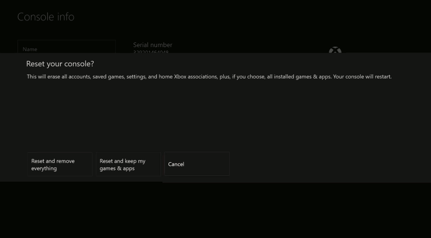 Confirm Resetting Xbox One