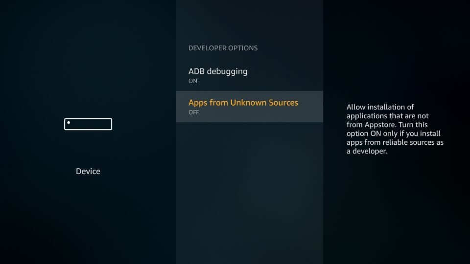 Firestick - Enable Apps from Unknown Sources