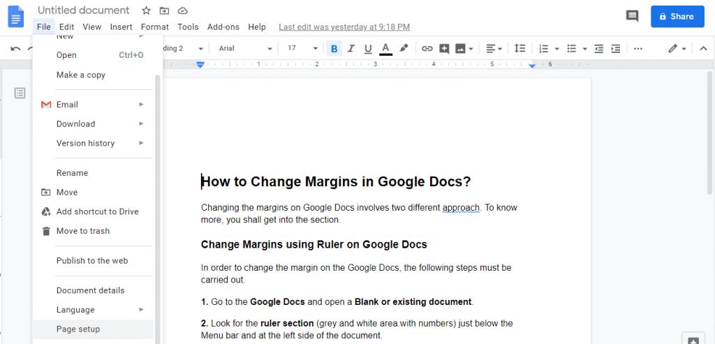 Select Page Setup to Change Margins in Google Docs