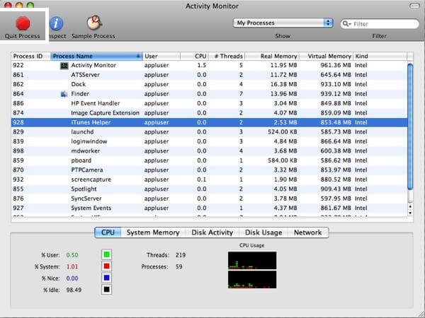 Quit Program using Activity Manager