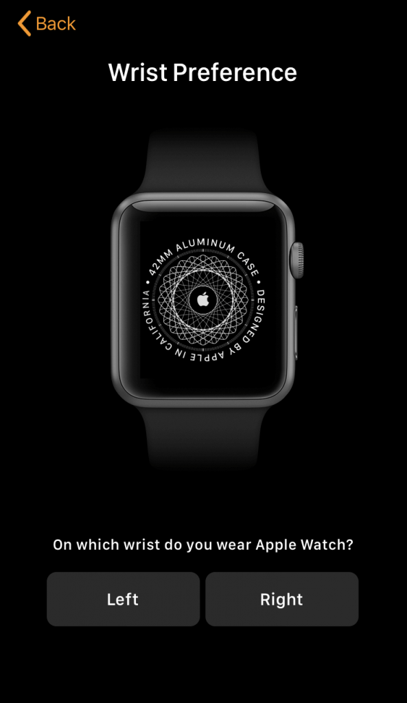 Select Wrist Preference to Pair Apple Watch to iPhone