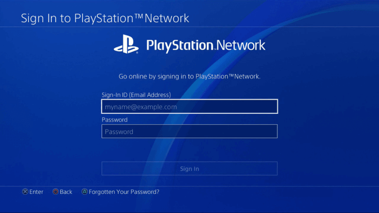 Sign in to PlayStation account