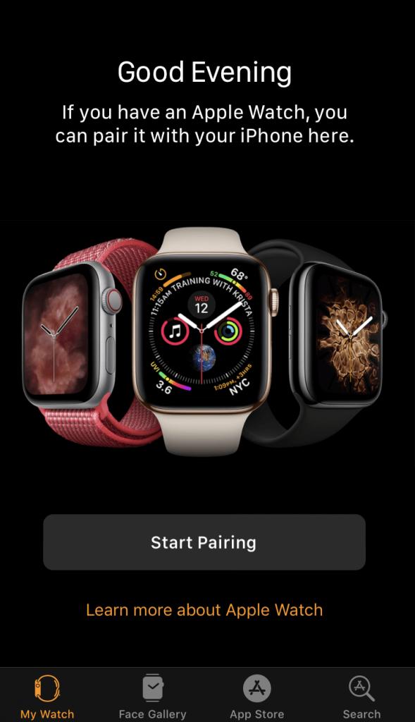 Start Pairing to Pair Apple Watch to iPhone