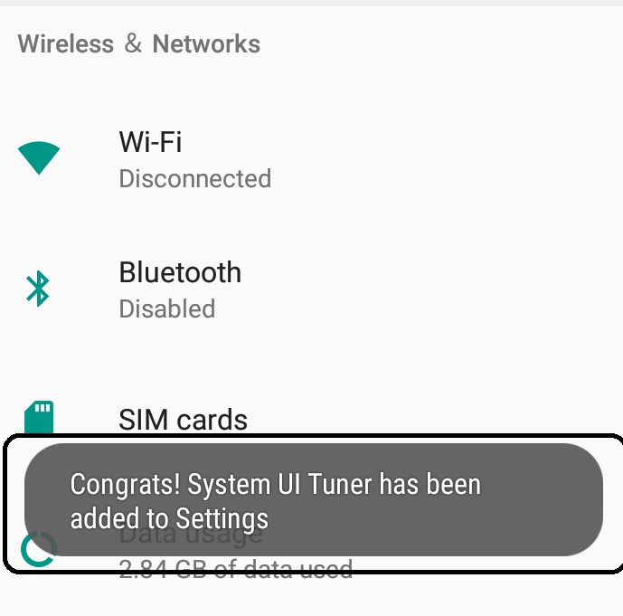 Turn on System UI  Tuner