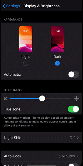 Turn on Dark Mode on iOS