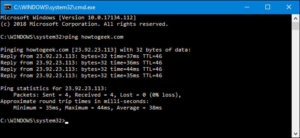 Windows command prompt IP configuration