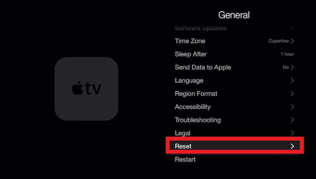 Reset your Apple TV