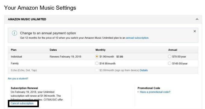 Cancel Amazon Music Unlimited
