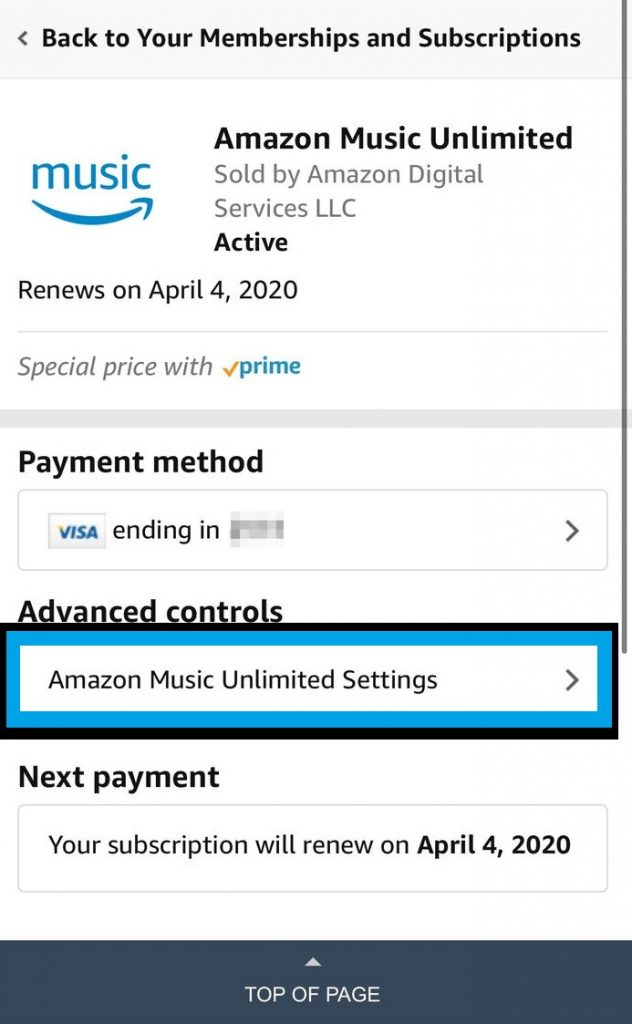 Amazon Music Settings