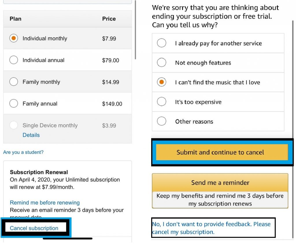 Cancel Amazon Music Unlimited or HD Subscription