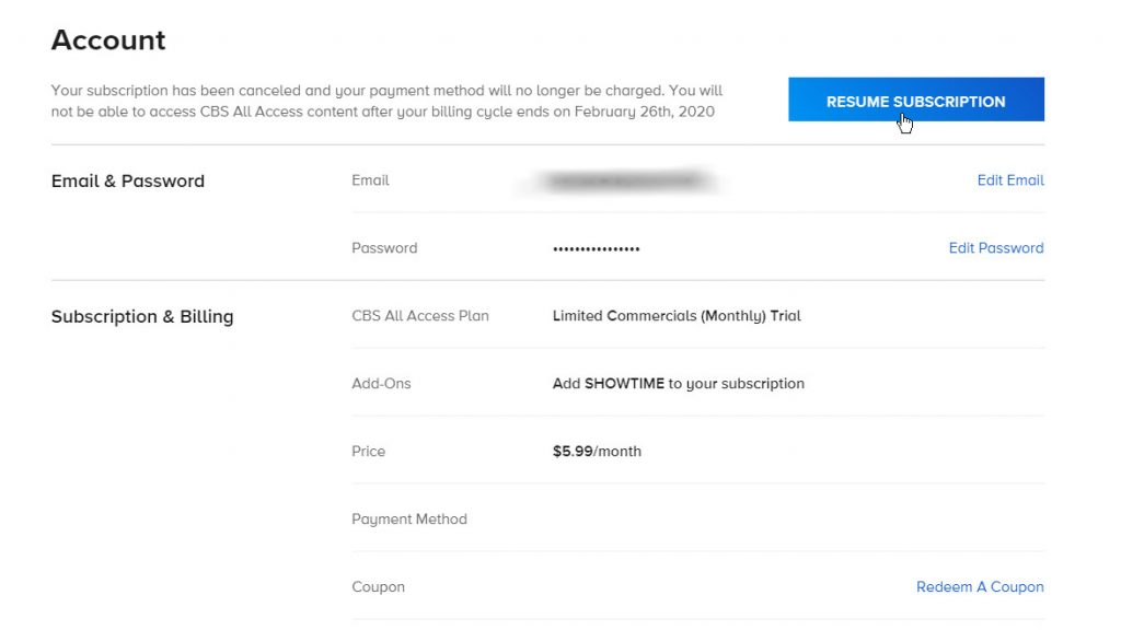Resume Subscription