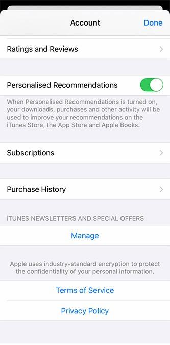 Subscriptions option