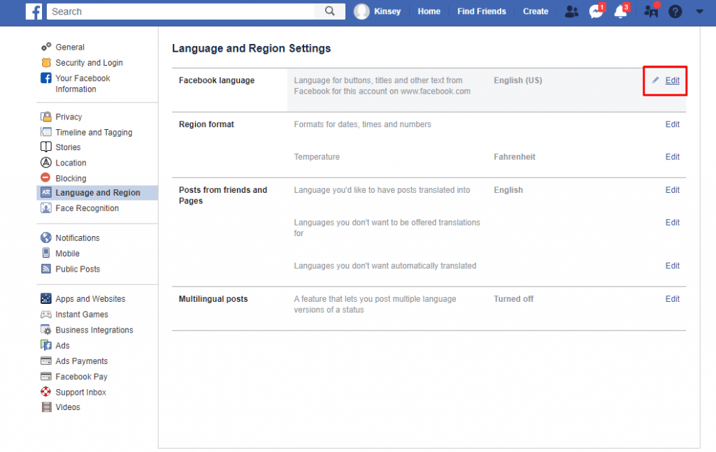 edit - How to Change Language on Facebook