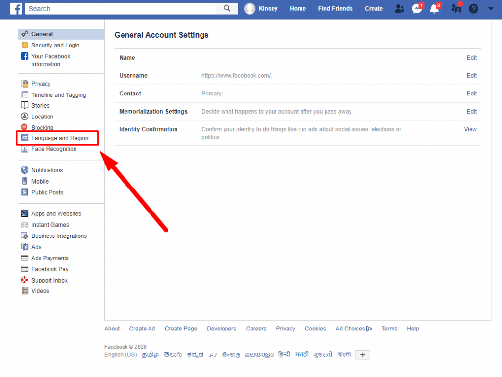 How to Change Language on Facebook - Language and region
