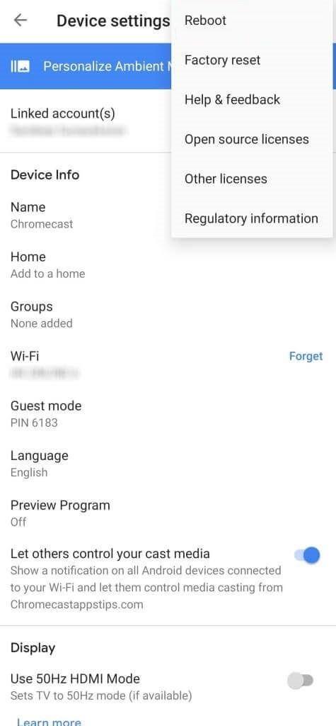 Choose Reboot to Update Chromecast Firmware