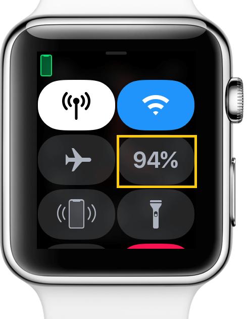 Apple Watch Control Center Battery Percent