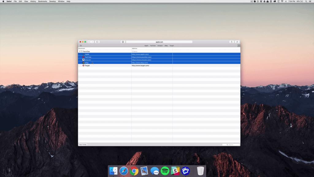 Delete Favorites on Mac