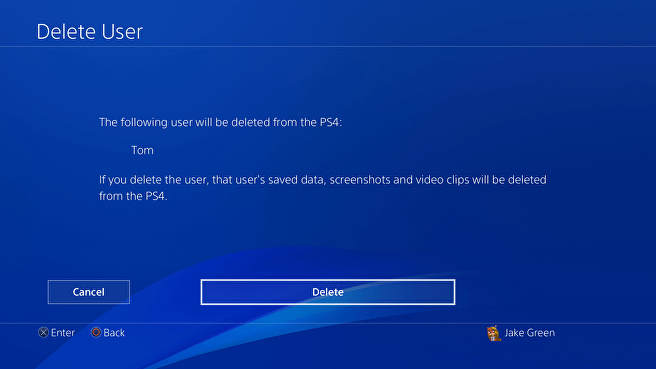 Remove user profile from PS4