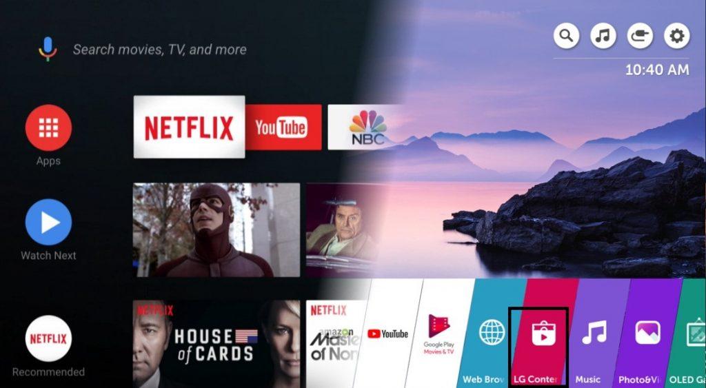 LG TV Home Screen