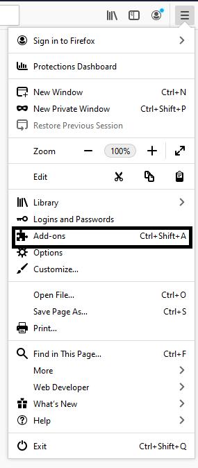 Menu Options Firefox