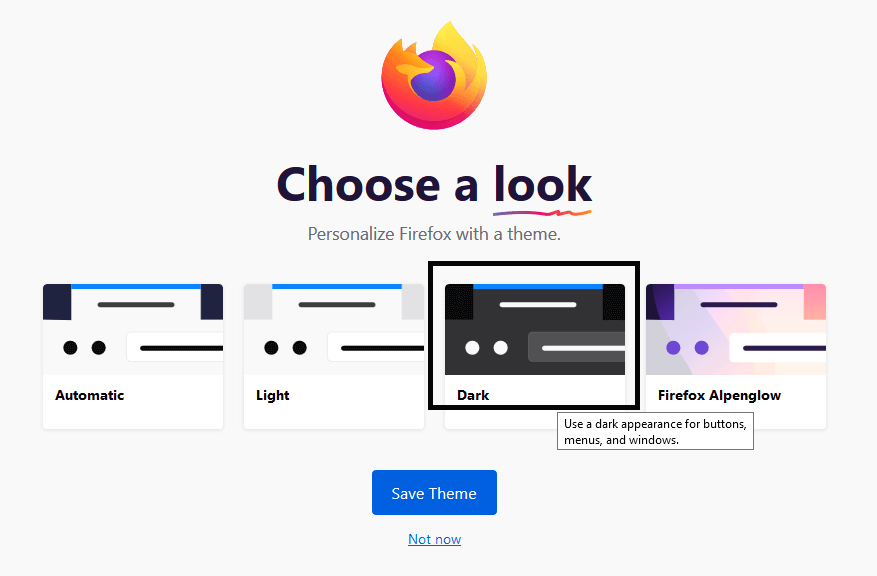 Mozilla Firefox Dark theme set up