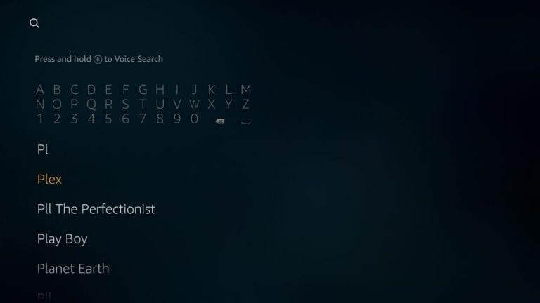 Search for Plex on Firestick