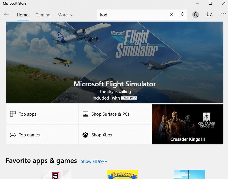 Search Kodi on Microsoft Store