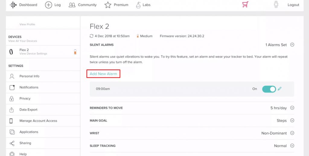Set Alarm on Fitbit - add new alarm