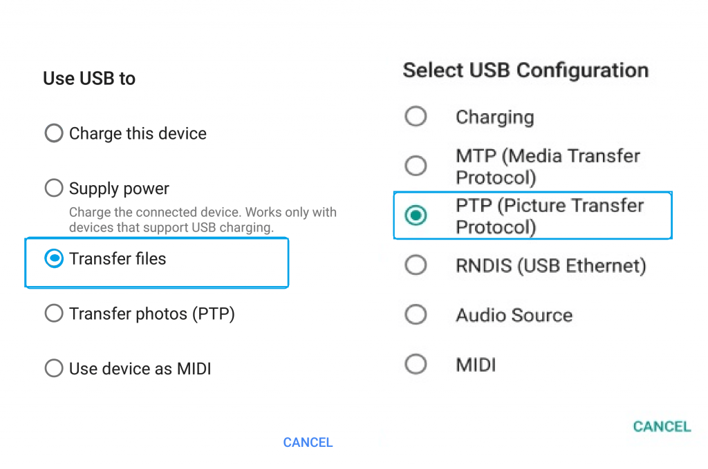 Use USB Cable to transfer photos