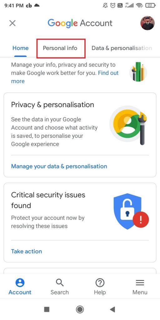Personal info tab
