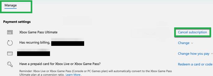 Cancel Xbox Subscription