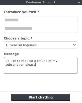 Cancel via Customer Support