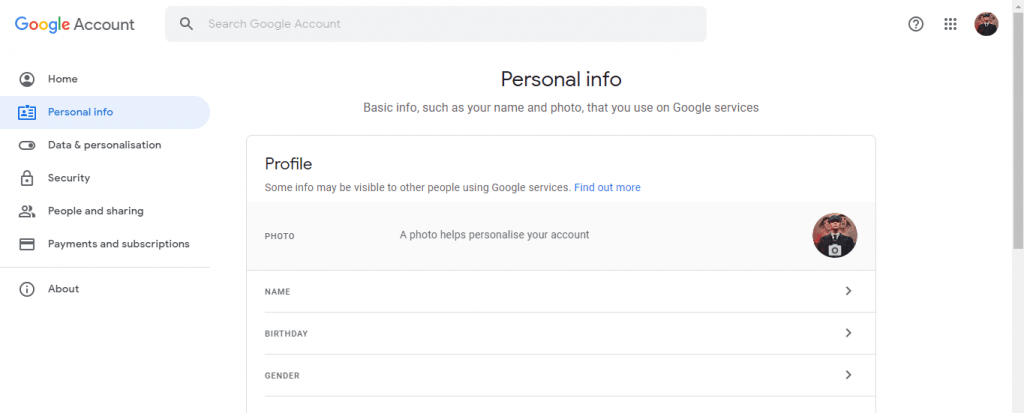 Change Google Account Profile Photo