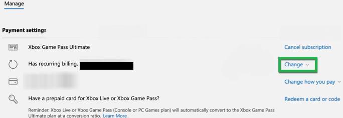 Change Xbox Subscription