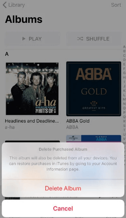 Choose Delete Album - Delete Songs from iTunes