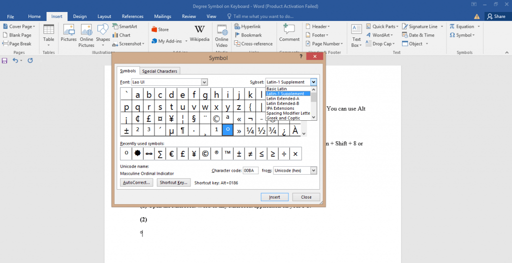 Degree Symbol on Keyboard