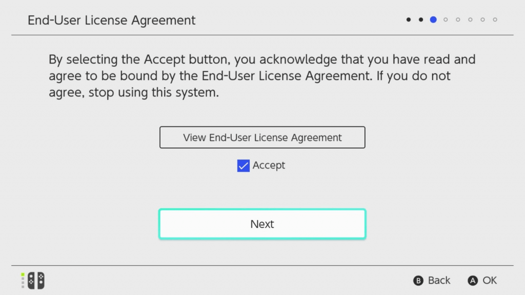 End User Agreement - Set Up Nintendo Switch