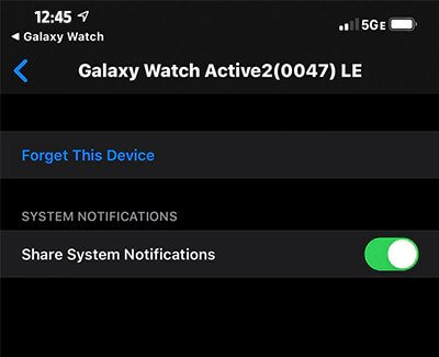 Share system notification - How to get text message on Samsung Smart Watch