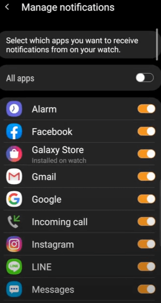 Manage notifications - How to get text message on Samsung Smart Watch