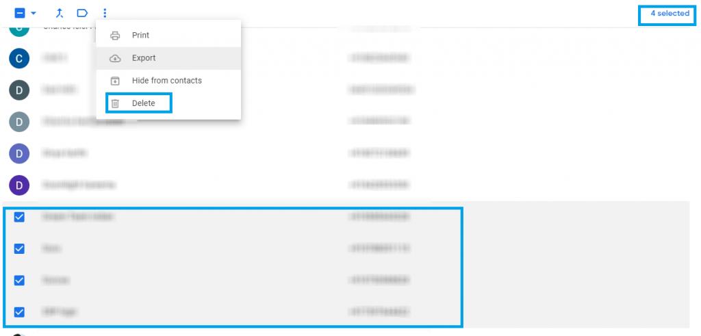 Menu options Google Contacts