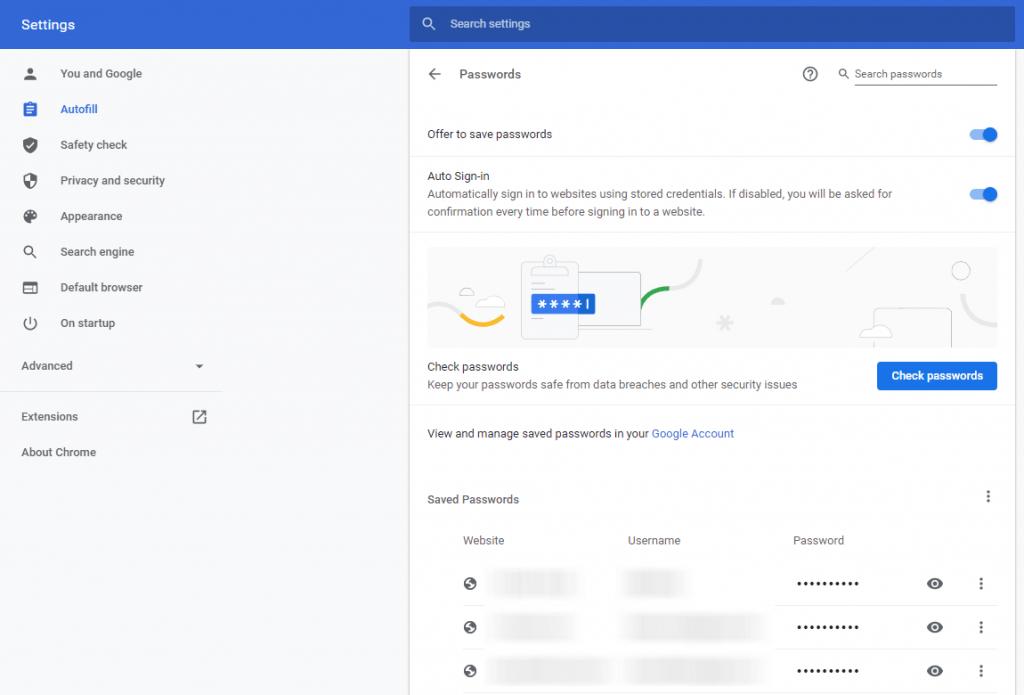 Passwords - Chrome