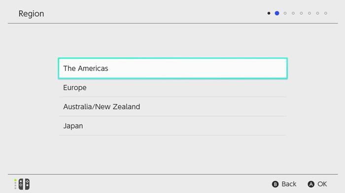 Region - Set Up Nintendo Switch