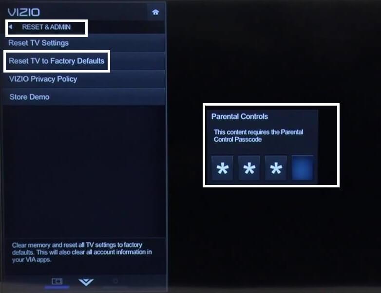 Reset and Admin Settings Vizio Smart TV